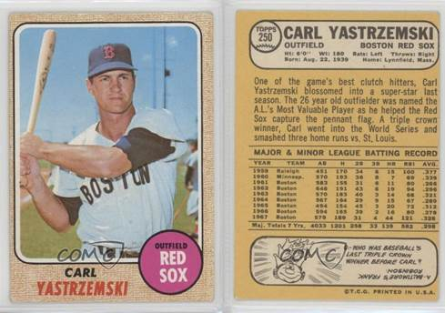 Image result for carl yastrzemski baseball card 1968