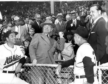 Image result for opening day kansas city a's 1955 truman