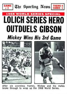 "Image result for ""the sporting news"" 1968 world series front page"