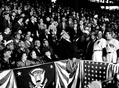 President Harry Truman throws first pitch, Griffith Stadium, 1948: