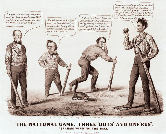 """""""The National Game. Three 'Outs' and One 'Run,' """" 1860, political cartoon"""