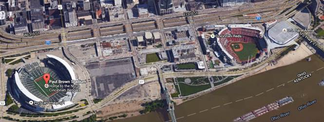 Image result for great american ball park aerial view river