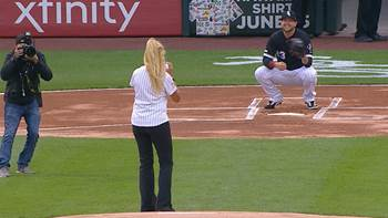 Image result for white sox first pitch hits photographer