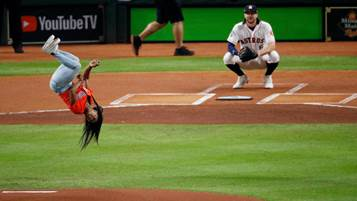 Image result for simone biles first pitch world series 2019