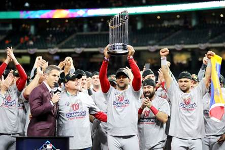 Image result for washington nationals world series celebration 2019 trophy