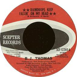 Image result for raindrops keep falling on my head record label