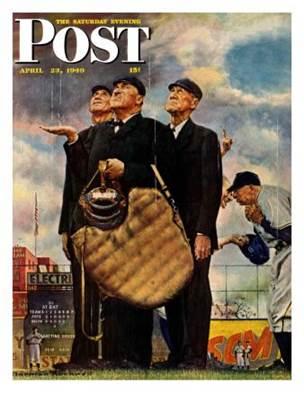 Bottom of the Sixth (Three Umpires) Saturday Evening Post Cover ...