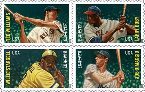 Set of four baseball stamps