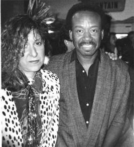 Allee Willis with Maurice White, founder of Earth, Wind & Fire — and already rocking her trademark hairdo.