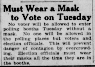 """A newspaper article entitled """"Must Wear a Mark to Vote on Tuesday"""""""