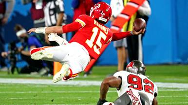 Image result for super bowl mahomes sidearm pass