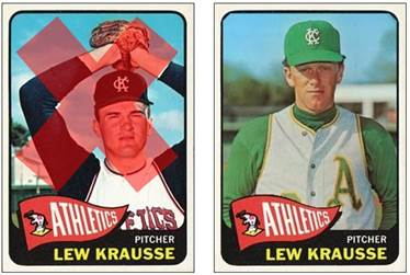 "Bottomms Cards on Twitter: ""1965 Topps Lew Krausse recast (original  pictured Pete Lovrich from 1963); Bottomms Up!; #baseballcards; #Athletics.  https://t.co/JWanAnRS8O"""