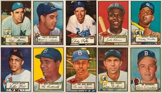 1952 Topps Baseball Cards - 12 Most Valuable - Wax Pack Gods
