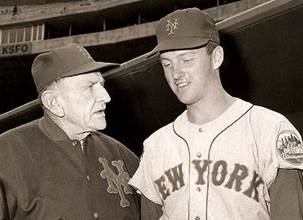 Mets Manager Casey Stengel with pitcher Bill Wakefield in 1964. Photo courtesy of Bill Wakefield.
