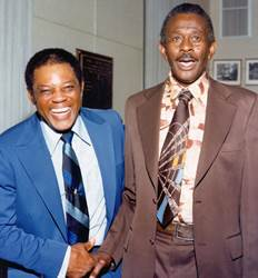 Willie Mays and Satchel Paige, 1979