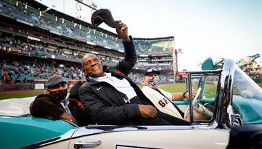 Willie Mays gets driven around the ballpark to celebrate his 90th birthday  : baseball