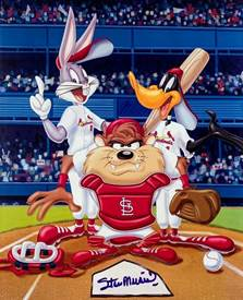Signed Musial Photograph - Looney Tunes Poster LSM COA